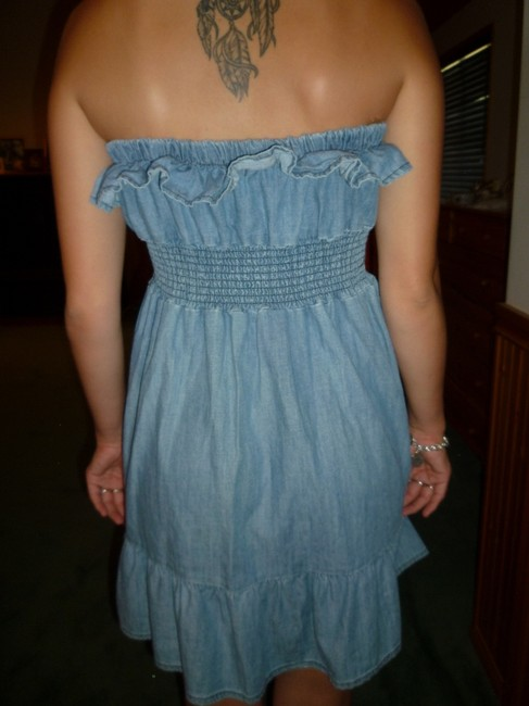 7 For All Mankind short dress Chambray Strapless Denim Ruffles on Tradesy