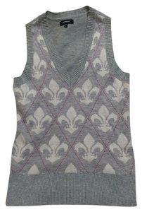 Express Brown Vest Pink Argyle Wool Prep Sweater