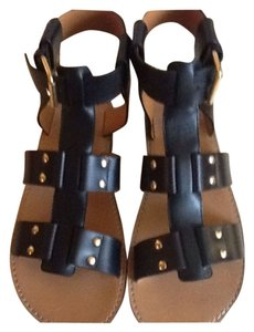 Chloé Black with gold buckle/studs Sandals