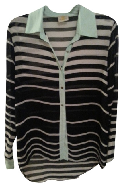 Preload https://item4.tradesy.com/images/black-with-white-stripe-sheer-high-blouse-size-8-m-993208-0-0.jpg?width=400&height=650