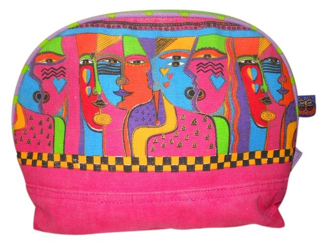Laurel Burch Red Pink Green Multi Color Abstract Faces Cosmetic Bag Image 1