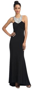 JS Collections Beaded Halter Gown Jersey Dress