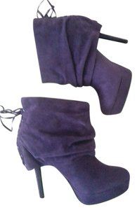 Colin Stuart Suede Lace Up Heel Purple Boots