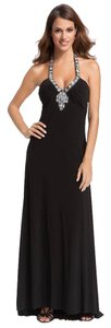 Betsy & Adam Halter Jeweled Jersey Gown Dress