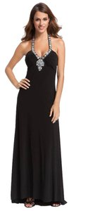Betsy & Adam Beaded Jeweled Halter Dress