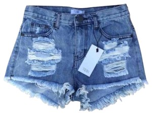 Tobi Distressed Casual High Waisted Denim Jorts Cut Off Shorts Jean, Blue, Venice