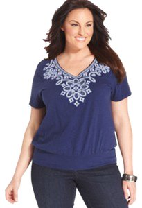 JM Collection V-neckline Beading Pullover Cotton Embroidered Top Blue