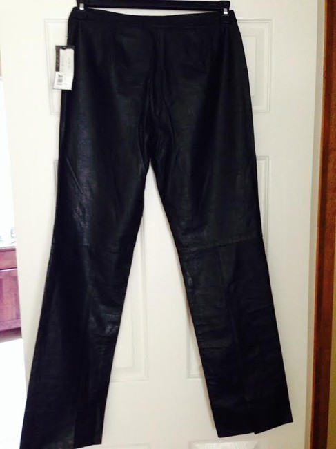 Kenneth Cole Leather Straight Pants Black