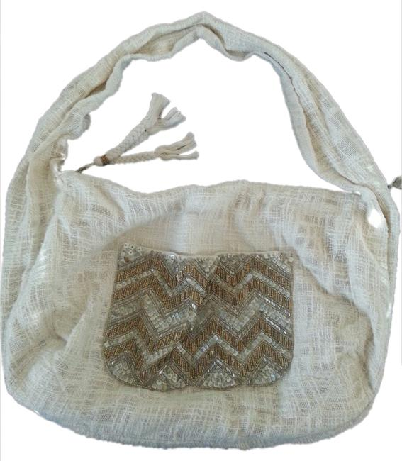Jasper & Jeera Not Applicable Cream Cloth Hobo Bag Jasper & Jeera Not Applicable Cream Cloth Hobo Bag Image 1