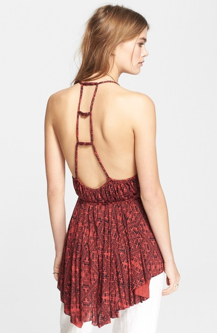 Free People Boho Bohemian Print Top Red Black