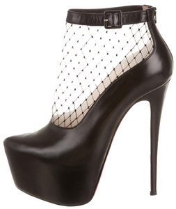 Christian Louboutin Leather Pointed Toe Stiletto Embellished Pump New Red Sole Sexy Ankle Ankle Strap Franca 38 8 Mesh Fishnet Platform Black Boots