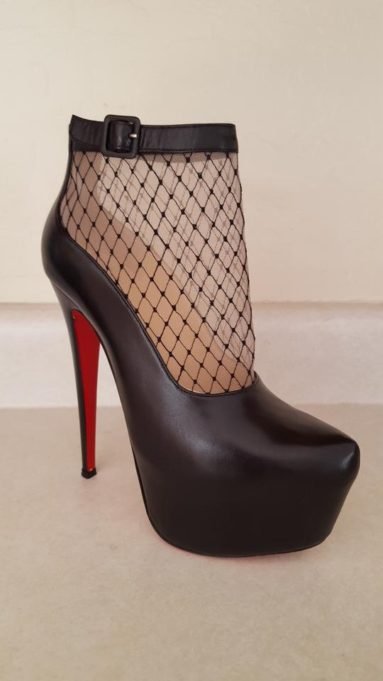 Boots Louboutin Booties Lace Illusion Black Christian toe Pointed Ankle qzS0ndw