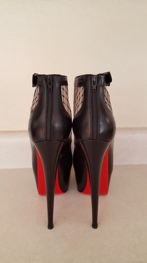Christian Louboutin Leather Stiletto Red Sole Black Boots