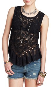 Free People Lace Going Out Night Out Top Black