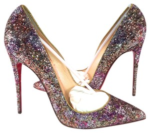 Christian Louboutin So Kate So Kate White Kid Leather 40 Impera Shocking Neon Barbie Rosette Gold Nye Sparkle Glitter Pumps