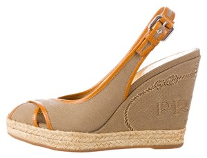 Prada Brown Beige Canvas Leather Logo Monogram Embroidered Textured Embellished Ankle Ankle Strap Peep Toe Wedge Platform New Beige, Brown Pumps