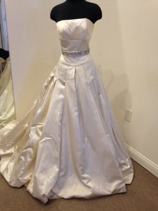 Stephen Yearick Ivory Satin Opal (Custom) Traditional Wedding Dress Size 10 (M)