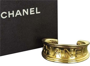 Chanel Authentic CHANEL Gold tone Bangle Bracelet