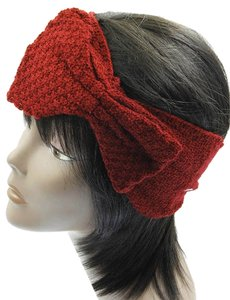 Bow Knitted Head Band / Ear Muffs - Red