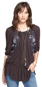 Free People Jersey Viscose Linen Boho Top Black