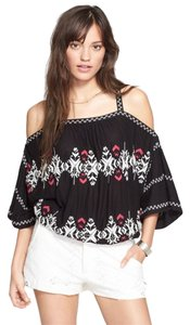 Free People Viscose Linen Boho Top Black
