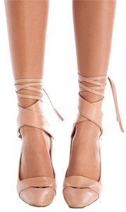 Marni Heels Leather Tie Up Blush Pumps