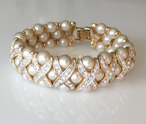 Diamonique Golden Pearl Cuff