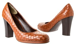 Bottega Veneta Woven Chunky Brown Pumps