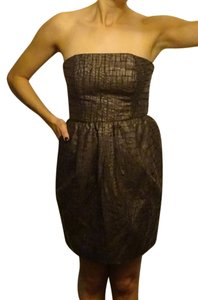 Rachel Roy Strapless Crocodile Pocket Peplum Dress