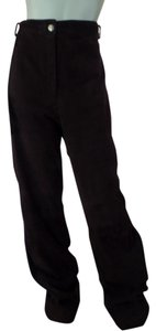 St. John Empire Waist Italian Straight Pants Brown Suede