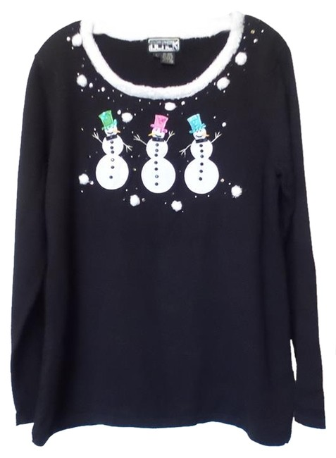 Preload https://img-static.tradesy.com/item/9935341/berek-2-not-so-ugly-holiday-christmas-w-snowmen-size-l-black-multi-color-sweater-0-1-650-650.jpg