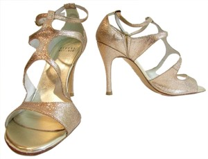 Stuart Weitzman Strappy Sparkle Gold Pumps