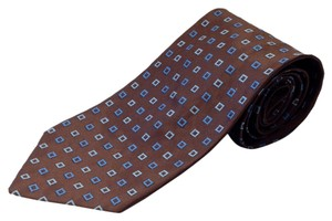 Lorenzini Barneys New York LORENZINI BARNEYS NEW YORK BROWN SMALL OPEN SQUARE TIE
