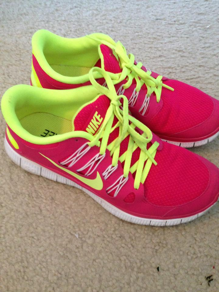 nike pink and lime green athletic size 10 41 nike