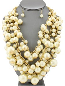 Fashion Statement Gold Plated Links Multilayered Chunky Pearl Necklace and Earrings