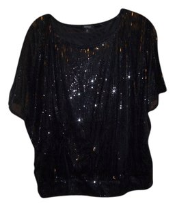 Style & Co Sequin Shortsleeve Top Black
