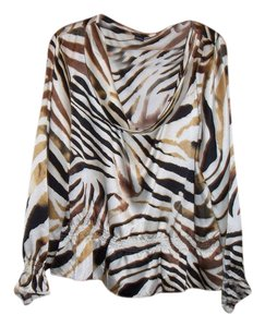 Robert Louis Animal Print Longsleeve Top White