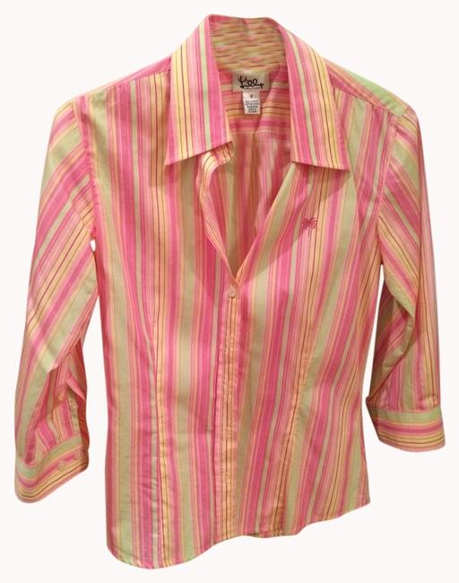 Lilly Pulitzer Oxford Longsleeve Bold Button Down Shirt Pink Striped With Yellow And Mint Green