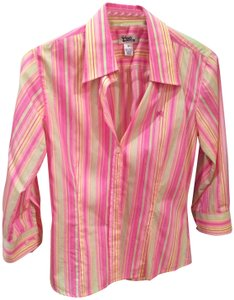 Lilly Pulitzer Oxford Longsleeve Bold Pastel Button Down Shirt Pink Striped With Yellow And Mint Green