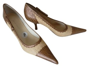 7140a5c3653c3 Added to Shopping Bag. Nine West Pointed Toe Leather And Jute Beige Pumps