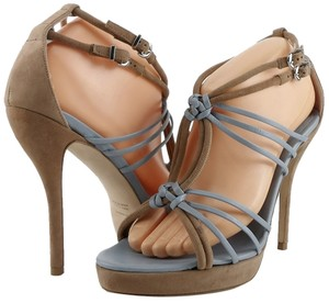 Giorgio Armani Designer Strappy Eur 39.5 New Tan/ Blue Sandals