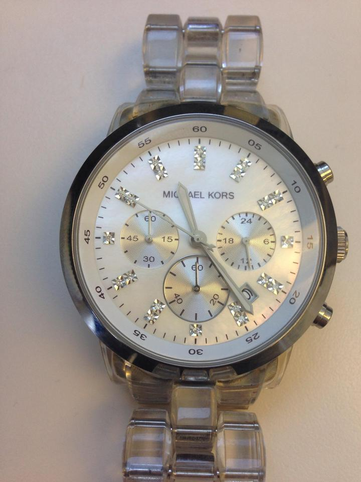 Michael Kors Silver and Clear Mother Of Pearl Dial Acrylic Band Mk5235 Watch 56% off retail