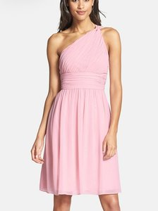 Donna Morgan Blush Polyester Chiffon Rhea (One-shoulder) Feminine Bridesmaid/Mob Dress Size 4 (S)