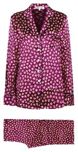 Olivia von Halle Button Down Shirt Pure Silk Pajamas Purple/Flowers