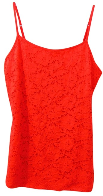 Style & Co Lace Fabric At Front Fitted Silohouette Spaghetti Sleeveless Top Red