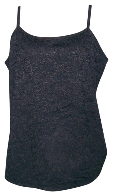 Style & Co Sleeveless Spaghetti Lace Fabric At Front Fitted Silohouette Top BLACK