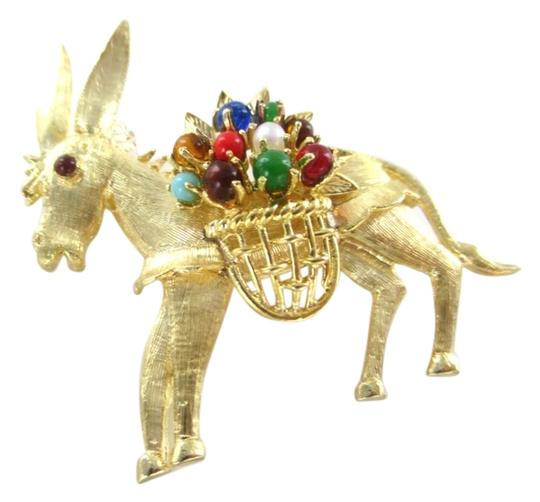 Preload https://img-static.tradesy.com/item/9938209/gold-18k-solid-yellow-pin-brooch-donkey-animal-stones-basket-91-grams-0-1-540-540.jpg