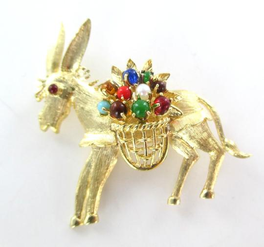Other 18K SOLID YELLOW GOLD PIN BROOCH DONKEY ANIMAL STONES BASKET 9.1 GRAMS JEWELRY