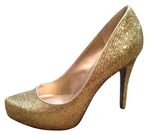 BCBGeneration Gold Sparkle Pumps