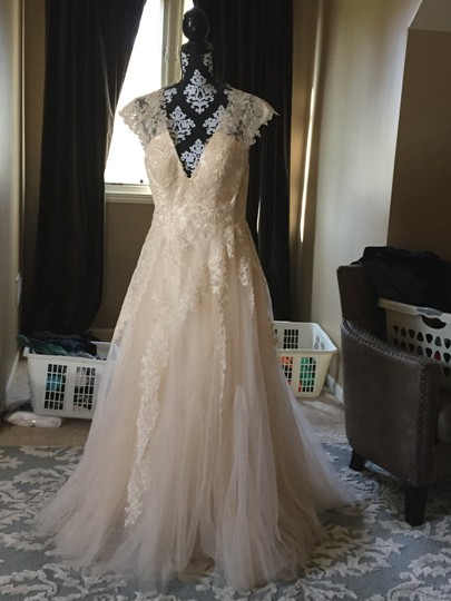Ivory Tulle and Satin Lace Retro Wedding Dress Size 0 (XS)